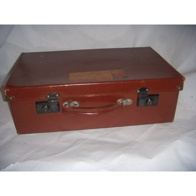 Vintage English Brown Leather Suitcase - Image 3 of 11