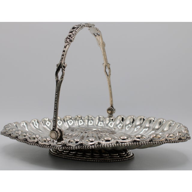19th Century Silver Plated Bride's Basket For Sale - Image 12 of 12