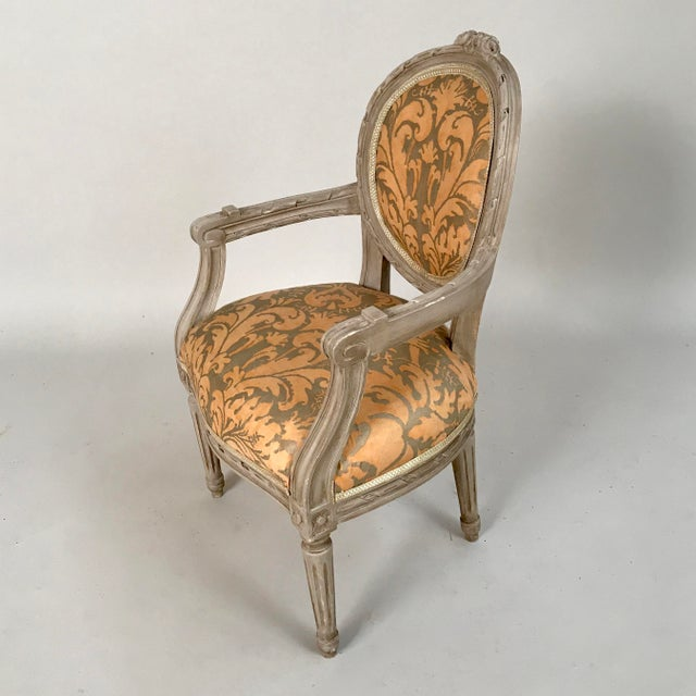 1940s French Louis XVI Style Child's or Doll's Armchair Attributed to Maison Jansen For Sale - Image 4 of 8