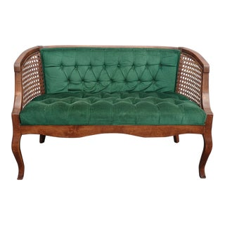 Vintage French Country Tufted Green Velvet Settee Loveseat W Cane #2 For Sale