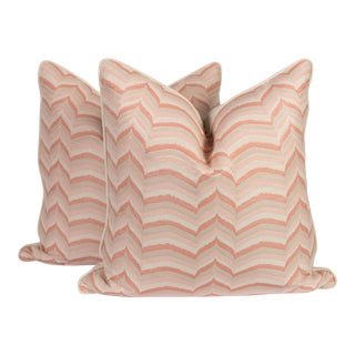 Pink & Ivory Flame Pillows - A Pair