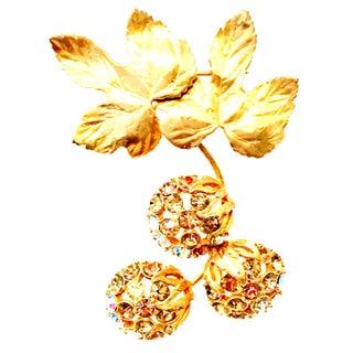 "1950s Elsa Schiaparelli Gold & Swarovski Crystal "" Forbidden Fruit"" Brooch For Sale"