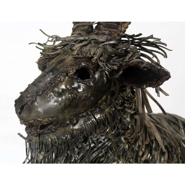 Tall Mid-Century Modern Metal Sculpture of a Goat For Sale - Image 10 of 10