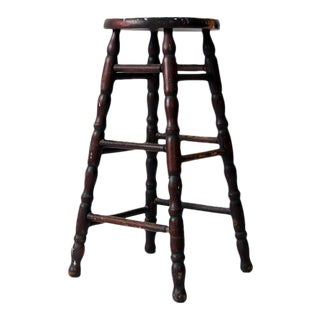 Antique Turned Wood Stool For Sale