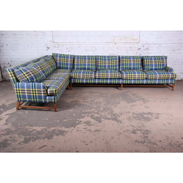 Mid-Century Modern A. Rudin Down Filled Two-Piece Sectional Sofa in Plaid Upholstery For Sale - Image 3 of 13