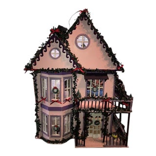 Vintage Victorian Three Story Miniature Christmas Themed Dollhouse For Sale