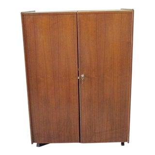 1960s Vintage Mid Century Danish Folding Desk Cabinet With Original Light For Sale