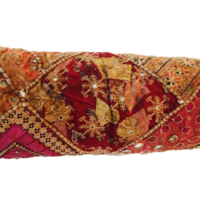 Indian Custom Made Patchwork Long Pillow For Sale - Image 5 of 8