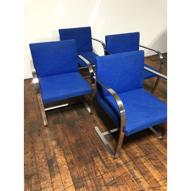 Blue 1970s Original Mies Van Der Rohe for Knoll Solid Steel Flat Bar Brno Dining Chairs - Set of 4 For Sale - Image 8 of 13