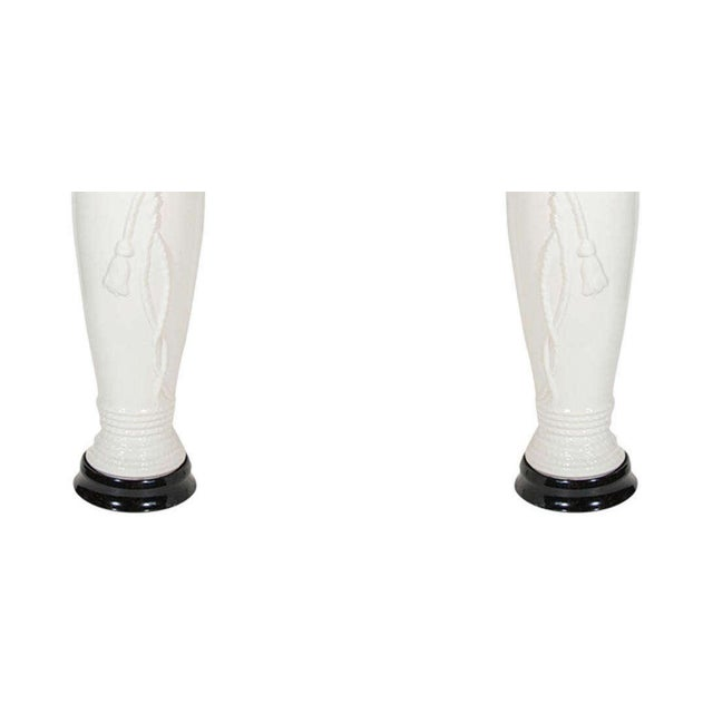 White Pair of Hollywood Regency Ceramic Lamps With Rope and Tassel Design For Sale - Image 8 of 10