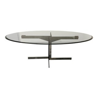 Contemporary Minotti Catlin Oval Smoked Grey Glass Table