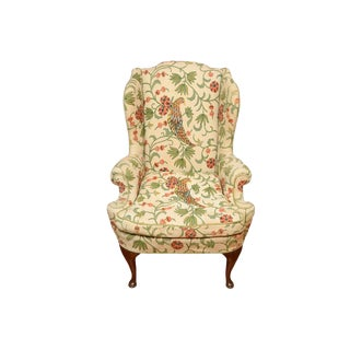 1980s Chinoiserie Marshall Fields Wingback Chair For Sale
