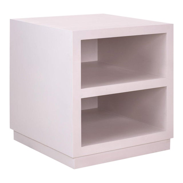 Elza End Table in White with a Platform Base For Sale