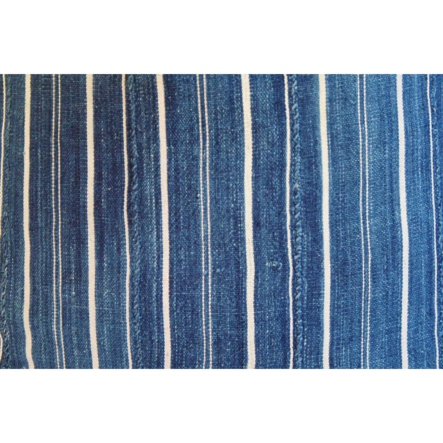 Woven Indigo Blue Stripe Batik Down Feather Pillow - Image 4 of 6