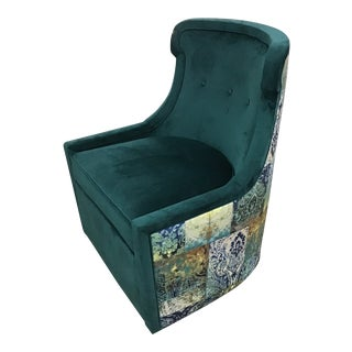 Century Teal Swivel Chair For Sale