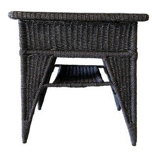 1920s Antique Wicker Side Table For Sale
