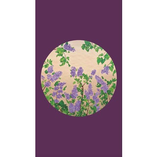 Tondi Fiori Collection Lilac Gold Circular Shaped Wallcovering On Imperial Purple For Sale
