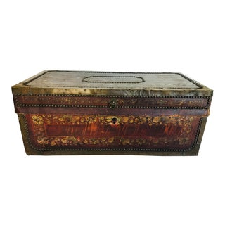 Mid 19th Century Vintage Leather Trunk For Sale
