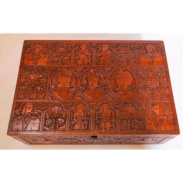 Large Early 19th Century Antique Hand Carved Wooden Decorative Box For Sale - Image 12 of 13