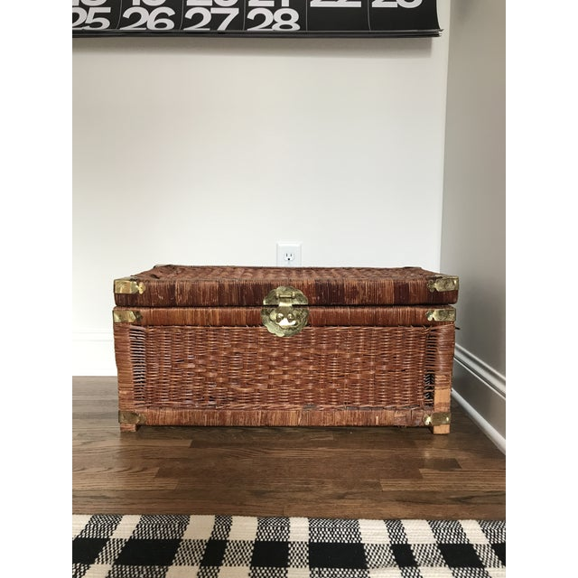 Vintage Brass and Wicker Trunk For Sale - Image 10 of 10