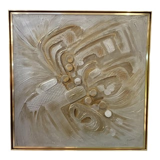 Vintage Mid-Century C. Frederick Metallic Abstract Painting For Sale