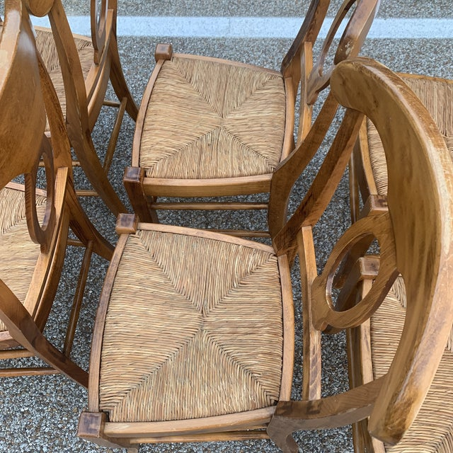 Tan Pottery Barn Natural Wood Finish Rush Seat Chairs - Set of 6 For Sale - Image 8 of 12