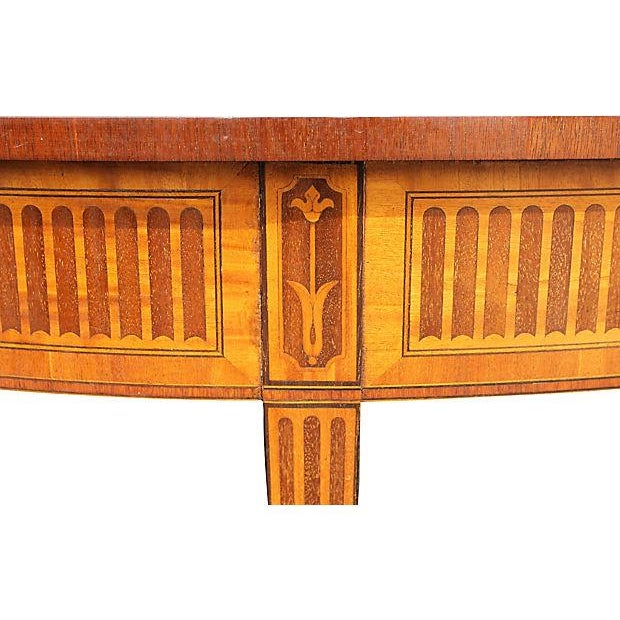 Wood Inlay Demilune Console Table - Image 6 of 9