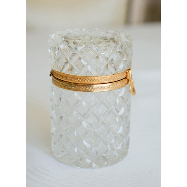 Antique French Cut Crystal Trinket Box For Sale - Image 9 of 10