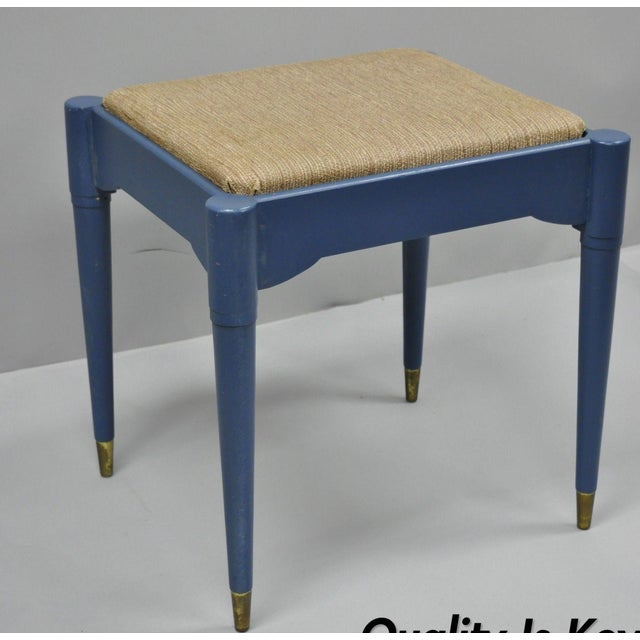Vintage Mid-Century Modern Danish Style Blue Painted Piano Bench With Sewing Storage For Sale - Image 11 of 11