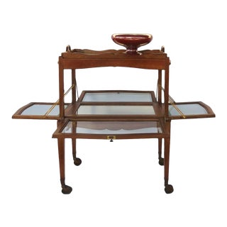 French Walnut Trolly Cart Display Lift Off Serving Tray Dessert Stand Side Table For Sale