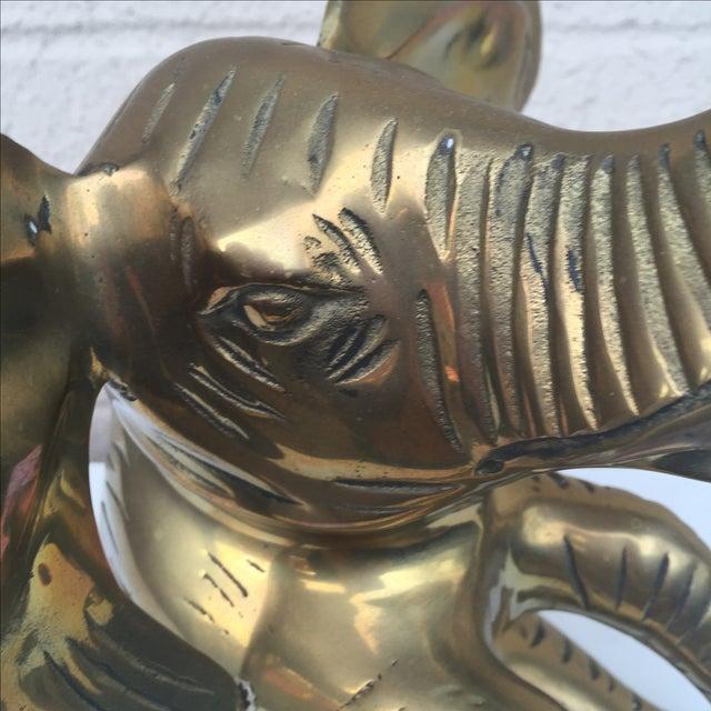 Vintage Large Brass Sitting Elephant For Sale - Image 9 of 11