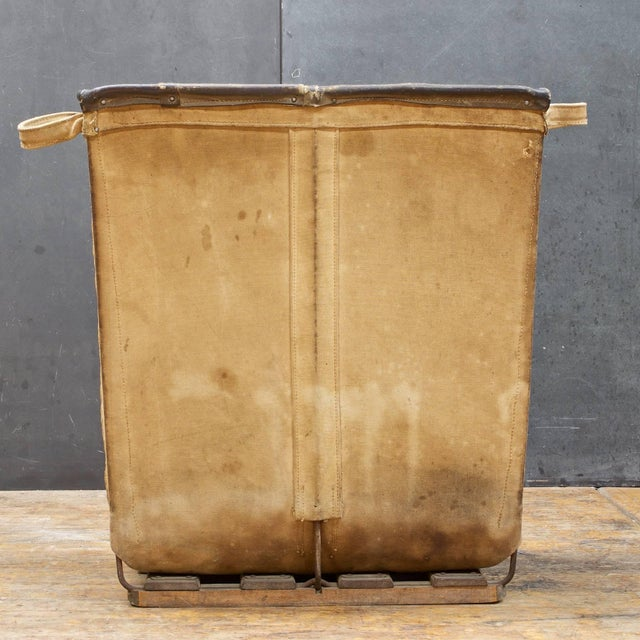 Industrial Vintage Petite 1940s Industrial Canvas Laundry Clothing Textile Bin Basket For Sale - Image 3 of 7