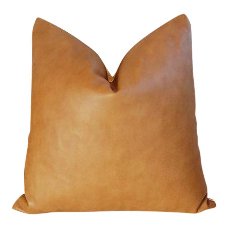 "20"" Custom Tailored Italian Brown Leather & Velvet Feather/Down Pillow For Sale"