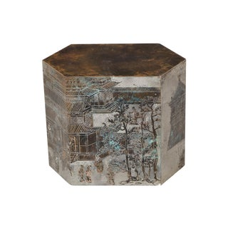 "Philip & Kelvin LaVerne ""Chan"" Bronze Hexagonal Occasional Table For Sale"