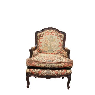 Early 20th Century Needlepoint French Style Arm Chair