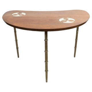 Mid-Century Organic Inlaid Brass & Walnut Bowfront Side/End Table by Mastercraft For Sale