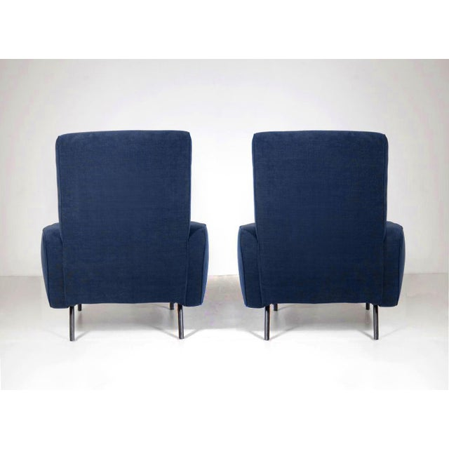 Contemporary 1950's Italian Armchairs Reupholstered in Slate-Blue Velvet - a Pair For Sale - Image 3 of 5