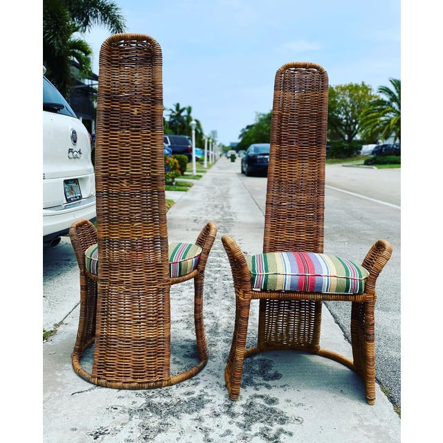 Hollywood Regency Wicker Arm Chairs - a Pair For Sale - Image 3 of 11