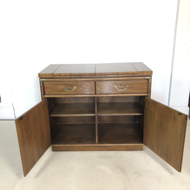 Brown Drexel Campaign Fruitwood & Brass Bar Cabinet For Sale - Image 8 of 13