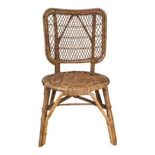 Vintage Mid-Century Boho Chic Bamboo and Wicker Chair For Sale