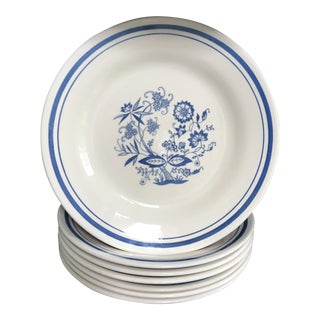 Vintage Blue & White Oxford Luncheon Plate - Set of 7 For Sale
