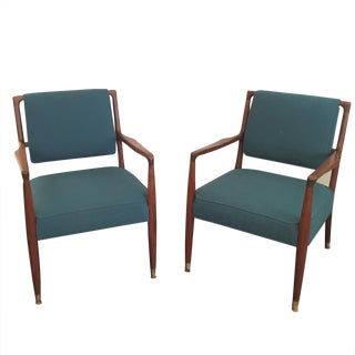 Danish Modern Walnut Arm Chairs - Pair For Sale