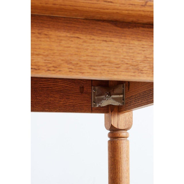 Tan American Oak Butcher Block Style Farm Table For Sale - Image 8 of 13