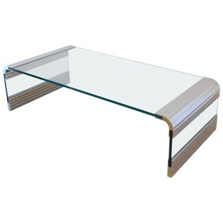 Large Chrome & Glass Leon Rosen Pace Collection Waterfall Cocktail Table 1970's For Sale