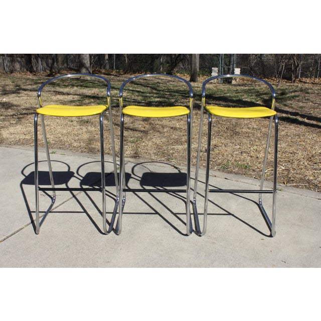 Boho Chic Italian Bar Stools in Polished Chrome by Hank Loewenstein - Set of 3 For Sale - Image 3 of 9