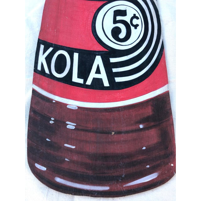 Americana Antique General Store Hand Painted & Large Scale Nichol Kola Bottle Sign For Sale - Image 3 of 8