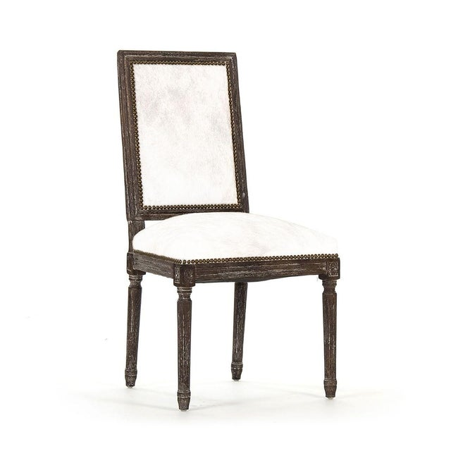 Audley Cowhide Side Chair in White For Sale - Image 4 of 4