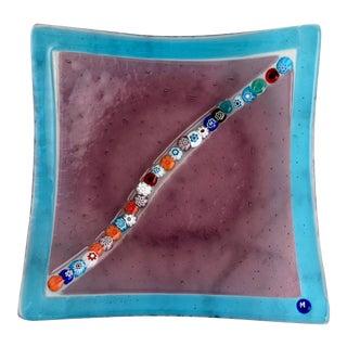Blue and Purple Murano Millefiori Glass Dish For Sale