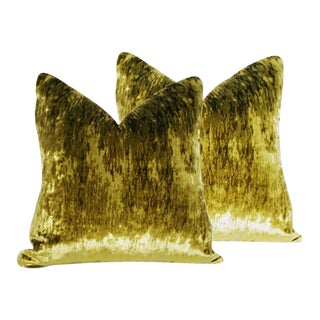 Flame Stitch Green Velvet Down Pillows - a Pair For Sale