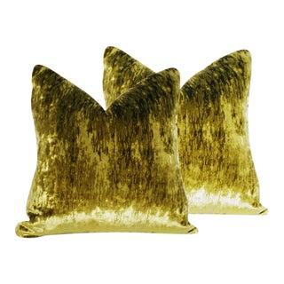 Flame Stitch Green Velvet Down Pillows - a Pair
